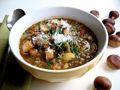 The Bojon Gourmet: Lentil Soup with Chestnuts and Fennel Bojon Gourmet, Blanched Almonds, Fava Beans, Fennel Seeds, Lentil Soup, Soups And Stews, Lentils, Vegetarian, Vegan Soup