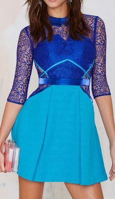 Three Floor Lace Vision Fit & Flare Dress