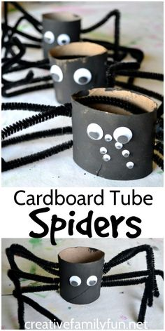 Cardboard Tube Spider Craft for Halloween - Creative Family Fun - J.Lo - Cardboard Tube Spider Craft for Halloween - Creative Family Fun Make these fun and spooky spiders out of cardboard tubes.It's a fun and easy kids Halloween craft. Diy Halloween, Halloween Arts And Crafts, Fall Crafts For Kids, Fun Crafts, Art For Kids, Party Crafts, Preschool Halloween Crafts, Halloween Decorations For Kids, Halloween Labels