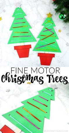 Use our free template to make this fun fine motor Christmas tree craft this holiday season. Work on fine motor skills with this paper Christmas craft. Christmas Crafts For Kids To Make, Christmas Tree Crafts, Preschool Christmas, Christmas Activities, Christmas Projects, Christmas Themes, Kids Christmas, Christmas Gifts, Xmas Trees