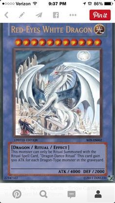 Red eyes white dragon