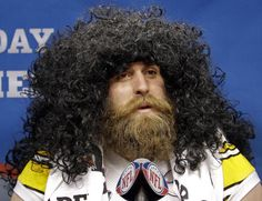 Kiesel disguised as Troy.sneaky guy :) OMG, funny thing I DO remember this pic. Pittsburgh Steelers, Steelers Football, Pittsburgh Penguins, Steelers Stuff, Steelers Season, Football Humor, Football Shirts, Fantasy Football Names, Here We Go Steelers