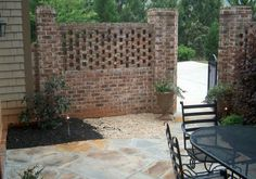 47 Awesome Brick Patterns Patio Ideas For Your Beautiful Yard - Trendecorist Brick Courtyard, Brick Paver Patio, Brick Fence, Front Fence, Fence Design, Patio Design, Wall Design, Brick Wall Gardens, Brick Projects