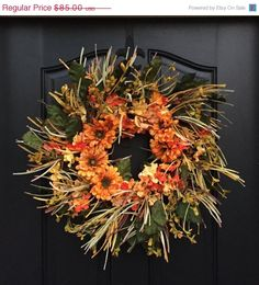 FALL WREATH SALE Late Summer/Fall Wreath, Wreaths, Orange Hydrangeas, Fall Wreaths, Orange Daisies, Autumn Wreaths, Outdoor Wreaths for Fall by twoinspireyou on Etsy https://www.etsy.com/listing/110685789/fall-wreath-sale-late-summerfall-wreath