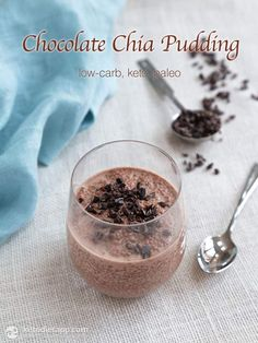 Chocolate Chia Pudding Chocolate Chia Pudding -- I am obsessed with this stuff. 6 net carbs per servingChocolate Chia Pudding -- I am obsessed with this stuff. 6 net carbs per serving Keto Chia Pudding, Chocolate Chia Pudding, Pudding Recipes, Chocolate Desserts, Chia Pudding Breakfast, Paleo Chocolate, Paleo Breakfast, Mint Chocolate, Breakfast Ideas