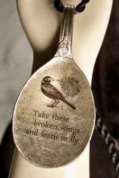 Antique spoon made into a  Necklace - i like this method of lettering MUCH better - the overall look is smoother and more appealing - #upcycle #repurpose #spoon #bowl #jewelry #pendant - from CleverMillieDesigns - tå√