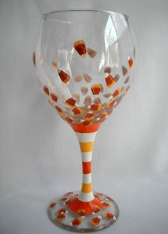 "Cute Wine Glass - ""Candy Corn"" - Set of 2. $25.00, via Etsy."
