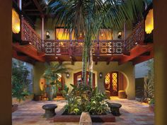 courtyard entry to tropical home