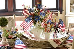 Farmhouse Style Fourth Of July Vignette The Bottle Rockets, Country Sampler Magazine, Happy Fourth Of July, July 4th, Independance Day, White And Blue Flowers, Berry Baskets, Outdoor Flags, Patriotic Decorations
