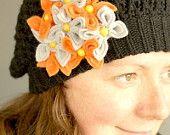 Orange with Silver, Felt Flower Brooch