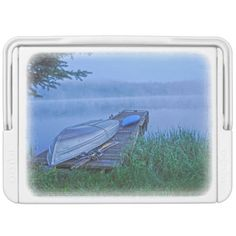 Scenic Blue Lake and Boats in Mist for Fishermen 2