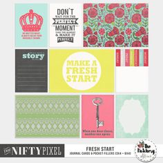 FRESH START | Pocket Fillers & Printables These fun & bold pocket fillers are perfect for adding an extra splash of colourful love. Because the designs are quite modern they are a great way to add some graphic flair to your digital scrapbook pages or pocket style projects.  DOWNLOAD INCLUDES:  9X Unique Designs (3X4 + 4X6 formats) Printable Sheets. All products are saved at 300ppi for optimum printing quality.