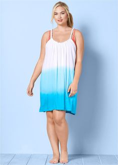 Scoop neckline with fabric pearl details on shoulder straps on this Plus Size Ombre Cover-Up Dress. Bathing Suit Dress, Triathlon Clothing, Women's Plus Size Swimwear, Plus Size One Piece, Fancy Dress, Plus Size Women, Plus Size Dresses, Summer Dresses, Shoulder Straps