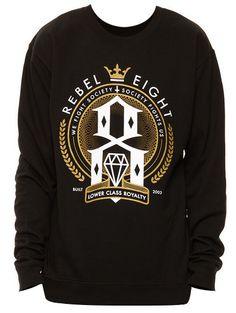#REBEL8 LOWER CLASS ROYALTY SWEATSHIRT BLACK