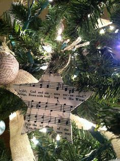 Homemade christmas ornaments: Love this idea for the musician in my family. Super easy and cute.
