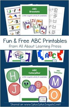 Fun and Free ABC Printables from All About Learning Press - Online education system - Homeschool Worksheets, Preschool Printables, Kindergarten Worksheets, Homeschooling, Kids Worksheets, Alphabet Worksheets, Education System, Kids Education, Abc Activities