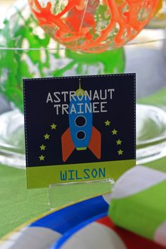 Astronaut placecard or badge ~ space birthday party