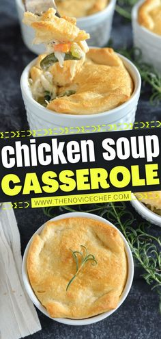 The perfect family dinner! There are no cans of cream in this easy recipe. Filled with a ton of flavors from your favorite homemade chicken soup and topped with buttery, flaky crescent rolls, a plate… More Homemade Chicken Soup, Easy Chicken Recipes, Soup Recipes, Cooking Recipes, Family Recipes, Yummy Recipes, Crescent Roll Recipes, Crescent Rolls, Croissants