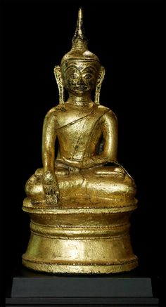 Antique Mon Buddha statue from Burma, Bhumisparsha Mudra, Mon style, made from bronze gilded with 24 krt. Lotus Buddha, Art Buddha, Buddha Life, Buddha Zen, Buddha Statues, East Asian Countries, Hindu Deities, 11th Century, Southeast Asia