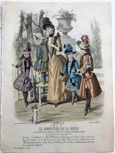 Your place to buy and sell all things handmade Edwardian Fashion, Vintage Fashion, 1880s Fashion, Vintage Turquoise, Vintage Black, Victorian Costume, Historical Costume, Fashion Plates, Hand Coloring