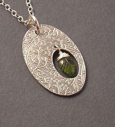 SALE, Leaf Peeping, Olive Green Vesuvianite, Fine Silver Pendant, Sterling Silver Necklace, erinelizabeth, Ready to Ship
