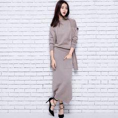 64cf1399b6e8a3 Ismtide 2017 New Autumn Winter Knitted Mink Cashmere Suit Patchwork Long  Sleeved Sweater Fashionable Skirts 3 Piece Set Women