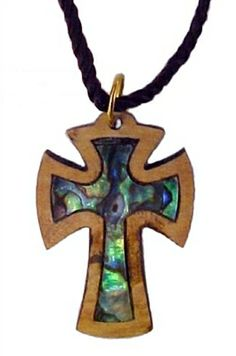 Every Necklace is beautifully presented for gift giving with a Certificate of Authenticity and a Biblical Picture You will love these beautiful collection of hand carved OliveWood and Multi-Color Mother of Pearl pendants! Every Cross in this collection is unique because of the variety of the Olive Wood grains and the richness and Brilliant of the Mother of Pearl. Multi colors and shapes of Blue, Green, Pink, Purple, Gold and every colors in between....