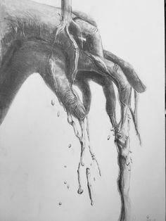 デッサン 手と水