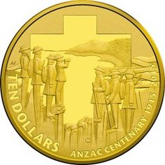 2015 $10 ANZAC Centenary Gold Proof coin. The Royal Australian Mint will release no more than 2,500 of these coins.  Most of the men recruited into the Australian Imperial Force at the outbreak of the First World War in August 1914, were sent to Egypt, later they'd face the threat which the Ottoman Empire (Turkey) posed to Commonwealth war interests.  After four and a half months of training near Cairo, the Australians departed for the Gallipoli peninsula together with troops from New…