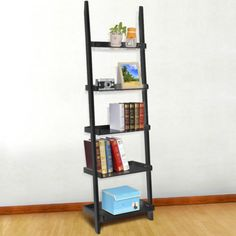 70-Inch-5-Tier-Wood-Leaning-Ladder-Shelf-Bookcase-Bookshelf-Storage-Shelves-Unit