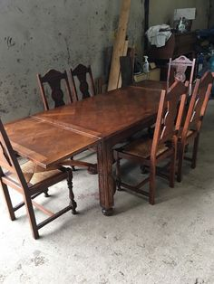 french breton oak extending table and six chairs