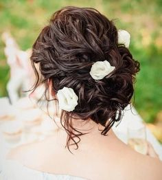 --- updo for curly hair: finger comb the hair into a loose twist, secure with pins