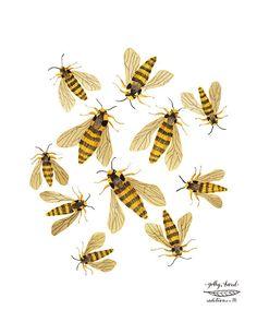 Hornet Moths Print bees print giclee art print por GollyBard