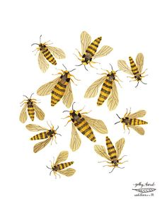 Hornet Moths bees print by golly bard by GollyBard on Etsy