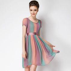 High quality 2015 new temperament short Sleeve rainbow color chiffon party dress women plus size long casual dresses# 374