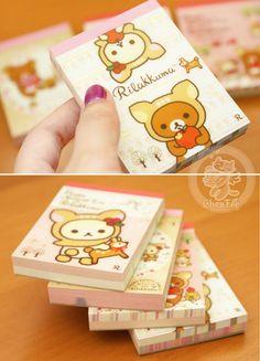 Mini carnet memo / papier à lettre / block-note illustré et coloré très kawaii avec Rilakkuma, Korilakkuma et Kiirotori de la marque japonaise San-X. ~ ^w^  - Boutique kawaii en ligne www.chezfee.com