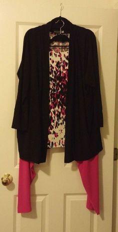 Antthony 3pc Knit Cardigan, Tank and Soft Drape Pant Set [Black/Pink 2X] #Antthony #PantSets