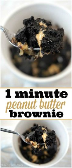 Peanut butter brownie in a mug recipe, it's amazing!! Throw it all together, stick in the microwave for 1 min. and it's done!
