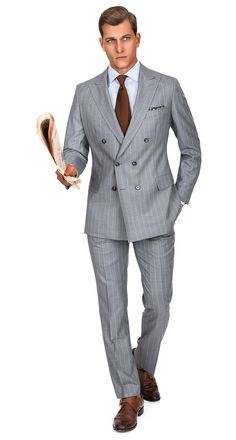 Premium Grey Chalk Stripe 150s Suit
