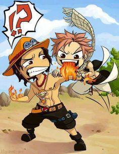 Ace vs Natsu ! #Fight #One Piece #Fairy Tail