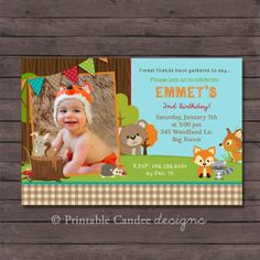 Forest Friends Woodland Birthday Invitation  by printablecandee, $10.00