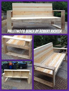 Palletwood bench, made from pallets for automotive parts, nice long slats. Modern 3 person bench. #upcycle #recycle #reclaimed wood. Made by Robert Richter Like and Follow for more palletwood projects. DIY
