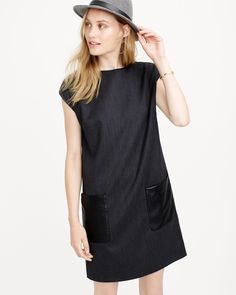 faux leather pocket shift dress