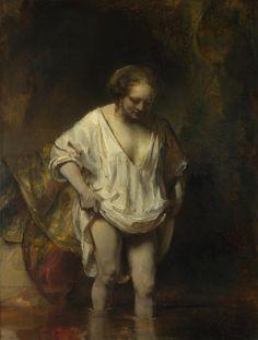 """Rembrandt – """"Mujer bañándose en un arroyo"""" (1654, óleo sobre tabla, 61 x 47cm, National Gallery, Londres)"""