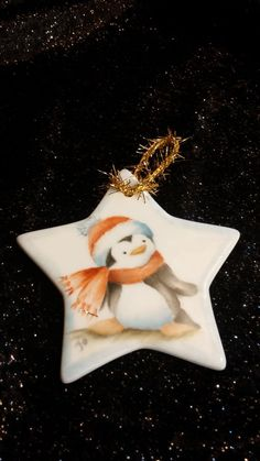 Hand Painted Kiln Fired Porcelain  Penguin Ornament by JYWheeler