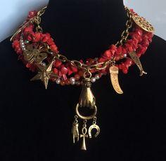 New at #CherryOrchardAttic on #eBay. Necklace Layering: Combine gemstone torsade necklace with vintage charm necklace. #GoodLuck #GoodLuckNecklace #GoodLuckCharm #CharmNecklace #GoodFortune #KennethLane #TorsadeNecklace #CoralNecklace #LayeredNecklace #StreetChic #BohoChic #LayeredLook #MixandMatch #Necklace #Torsade #GemstoneNecklace #StatementNecklace #JewelryBlogger #FashionBlogger #Jewelry #JewelryAddict #JewelryLover