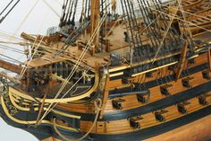 p Breathtaking detail! Model Sailing Ships, Old Sailing Ships, Sailing Boat, Vintage Nautical, Nautical Art, Hms Victory Model, Scale Model Ships, Scale Models, Ship Of The Line