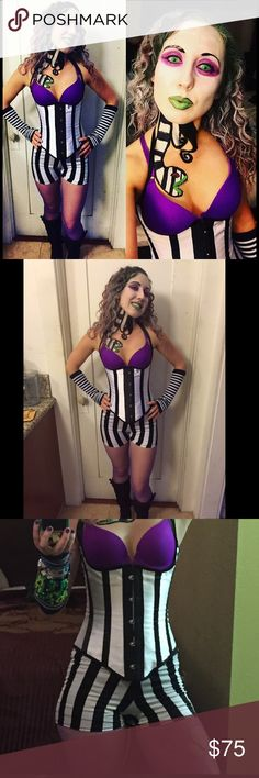 "Bettlejuice costume rave Halloween stripe burton Amazing Beetlejuice sexy woman's stripe costume outfit! I wore to Halloween rave. Comes with striped soft spandex shorts 22-38"" inch waist, striped arm covers, ripped purple fishnet tights, underbust corset with silk neck ties, I'm 24"" waist bit it can be adjusted with ties in the back to any size, purple bra that hooks in front, 34b can be adjusted to fit A-C, plus ""Beetlejuice"" glitter tie. Tags : escape from wonderland psycho circus rave…"