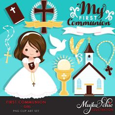My first Communion Clipart for Girls. Cute Communion characters, graphics, bible, church, rosary, communion banner. First Communion Graphics by MUJKA on Etsy