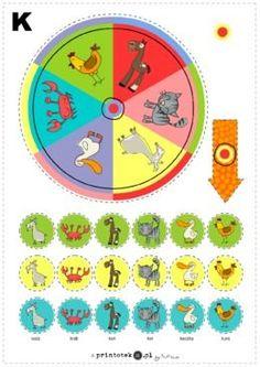 Logopedyczna loteria - głoska [k] w nagłosie - Printoteka.pl Kids Rugs, Symbols, Peace, Education, Logos, Decor, School, Word Reading, Decoration